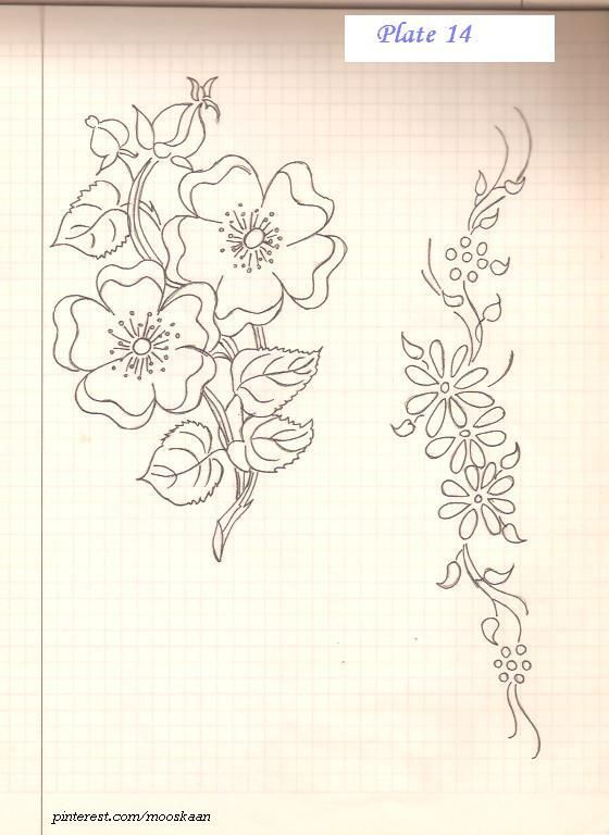 Flowers embroidery pattern...... Plate #14. ... The 2nd pattern, in repetition, can be used as a border.