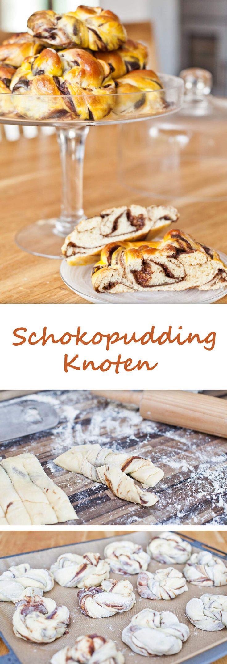 Hefeknoten mit Schoko-Pudding