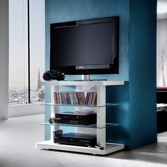 Menial LCD TV Stand In High Gloss White With Clear Glass Shelves #tvstands | Home decor ...