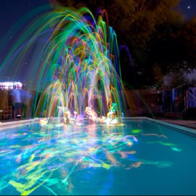Pin by deshari on party ideas glow stick party glow - Glow in the dark swimming pool toys ...