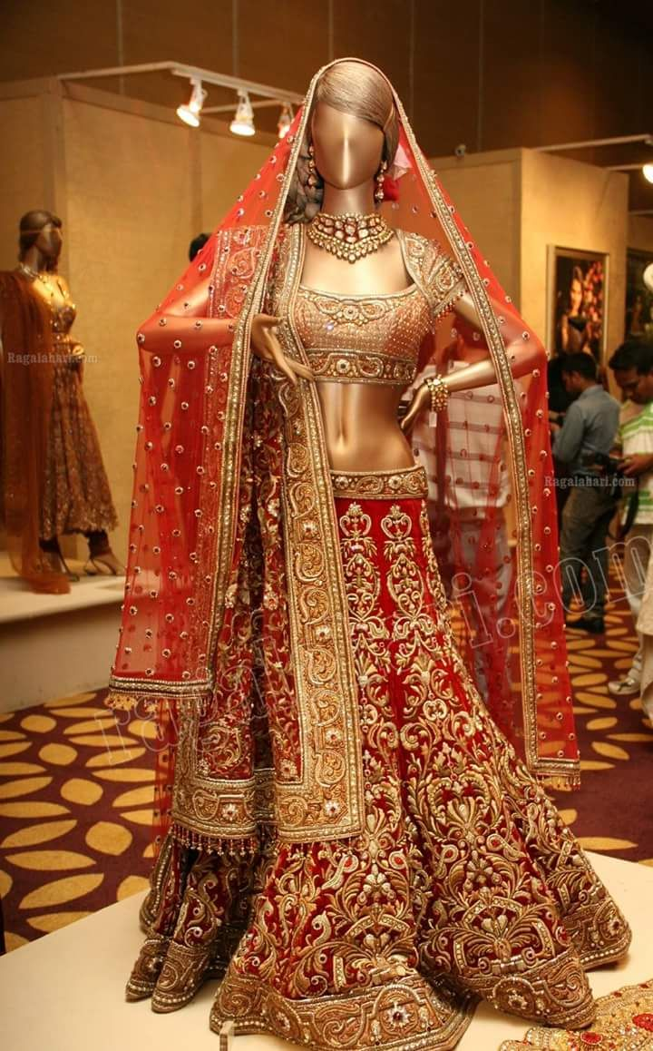 Nadiya Shaikh created a post - RED BRIDAL LEHENGA. #roposolove