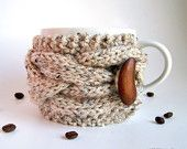 Oatmeal Cup Cozy, Beige Mug Cozy, Coffee Cozy Sleeve, Tea Cup Cozy - Earth Neutral Nature Wood Woodland Rustic Farm Cottage. $17.50, via Etsy.