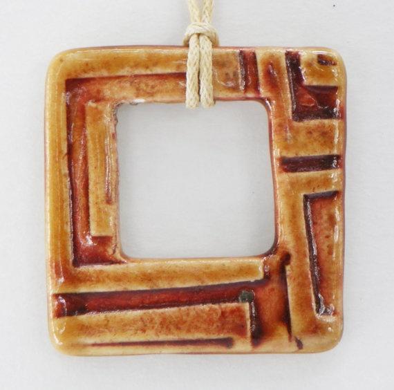 Square Geometric Ceramic Pendant on Waxed Cotton Cord by BluMudd, $8.00