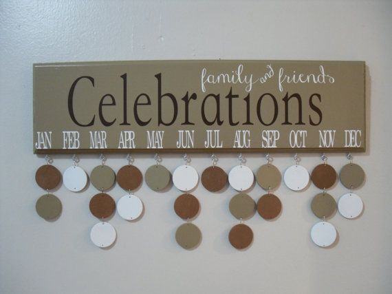 Family & Friends CELEBRATIONS, Wood Birthday Calendar, (Tan/Brown/White)