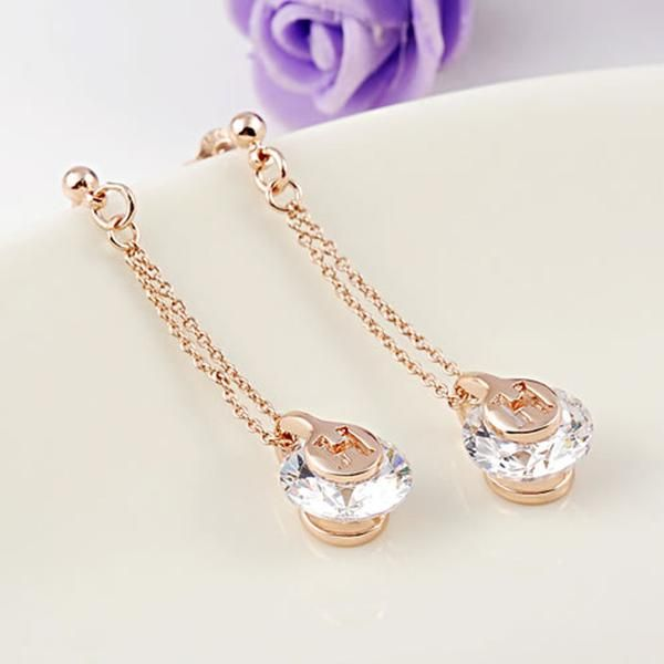 Jewerly Set Earrings Necklace Simple Zircon Rose Gold Kit
