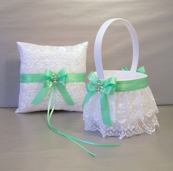 Mint Green Wedding Bridal Flower Girl Basket and by evertonbridal, $50.00