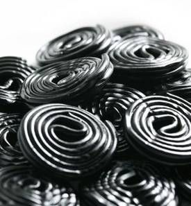Black licorice candy wheels