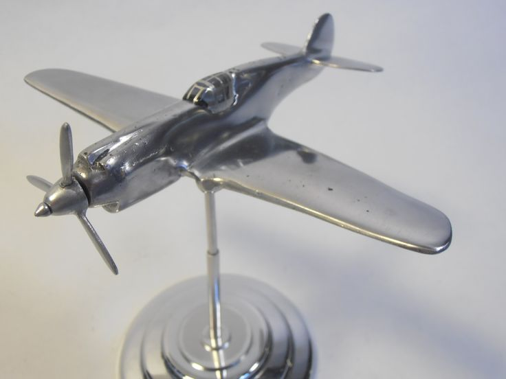 Original Curtiss Wright Aircraft Small Cast Aluminum Desk Model Metal Models