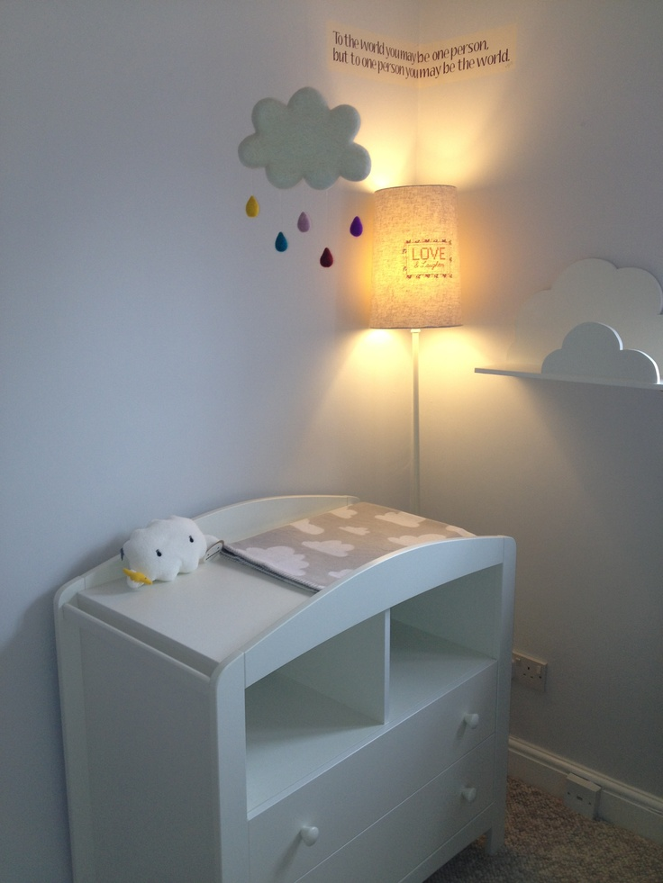 The first corner of our Nursery on its way to completion :) (Paint: Crown's 'Whisper of Dramatic', Changing Unit: Mothercare, Blanket: Farg& Form, Cloudmobile: Etsy, Cloud shelf: Handmade by Father-in-law!) All  items available at time of pin Feb 2013.