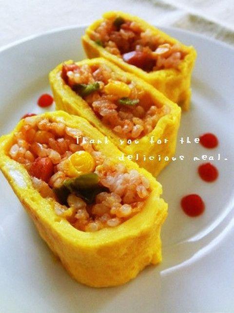 【子ども大喜び】目からウロコの「オムライス卵焼き」レシピ!                                                                                                                                                                                 もっと見る