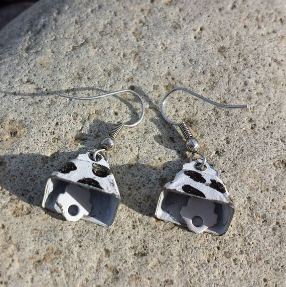 More CowBell Vintage CowPrint Earrings Bells by themagickcat