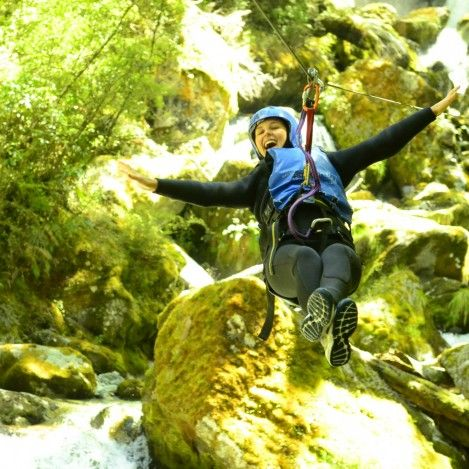 Zipping through the Routeburn canyon on a Canyoning adventure day!