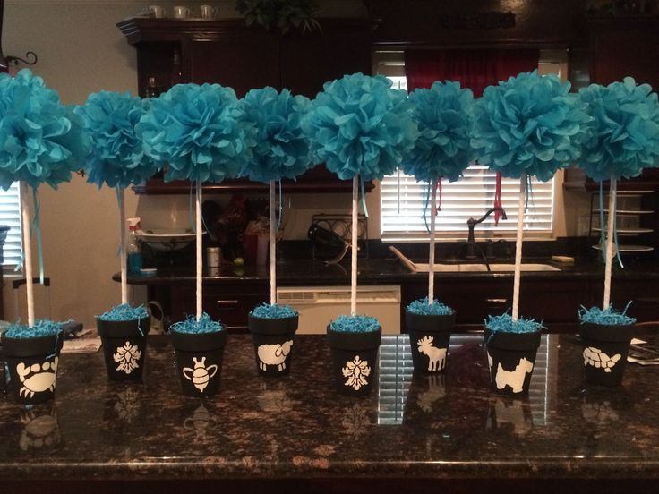 Baby shower center pieces for a baby boy