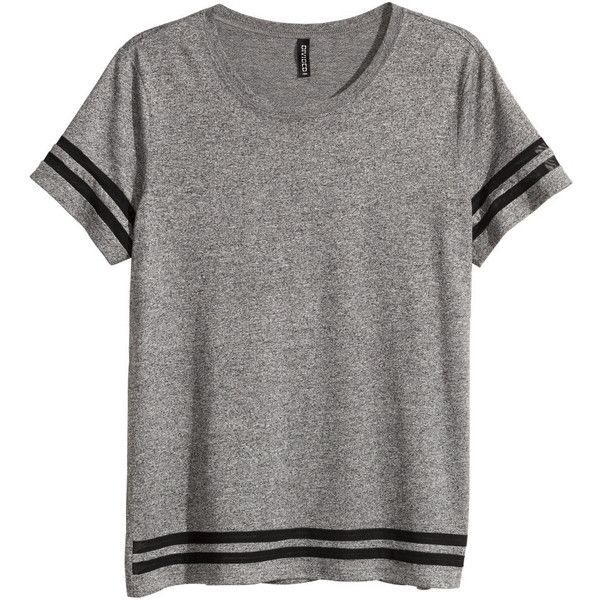 H&M Jersey top ($13) ❤ liked on Polyvore featuring tops, t-shirts, shirts, remeras, t shirt, grey, loose t shirt, jersey tee, loose tee and loose fitting t shirts