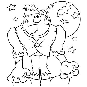 Halloween Monstern Coloring Page To Trace In SCAL For Cutting With Cricut