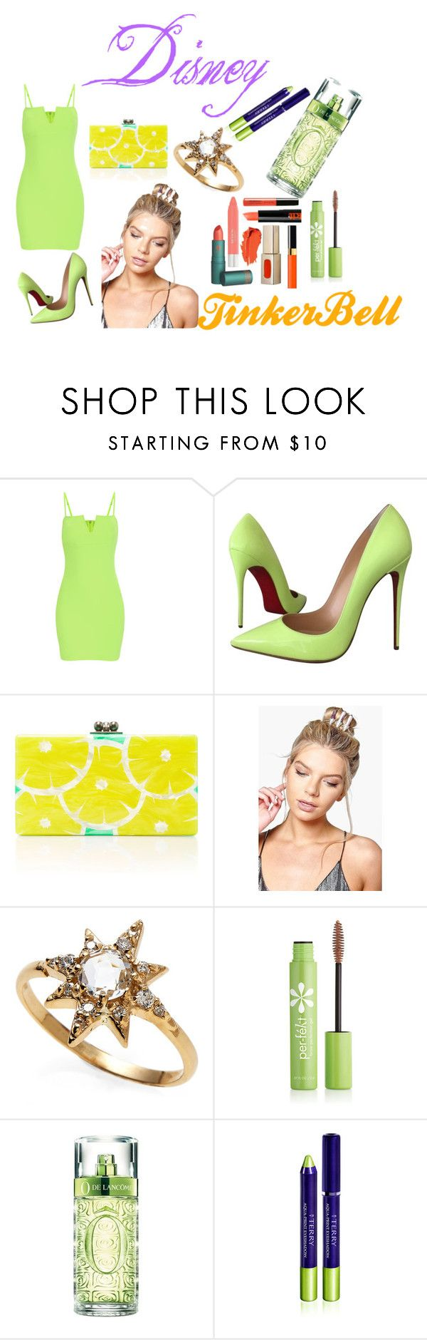 """Disney stars part 3"" by pinkjade-803 on Polyvore featuring Christian Louboutin, Edie Parker, Boohoo, Anzie, Per-fékt Beauty, Lancôme, By Terry and tinkerbell"