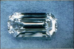 The Uncle Sam Diamond is the largest diamond found in the United States.  It was found in Arkansas and is named after the nickname of its finder, a diamond mine worker.  It was 40.32 carats before being cut and yielded this 12.42 carat emerald-cut gem.  It was sold for 150,000 to a private collector in 1971.