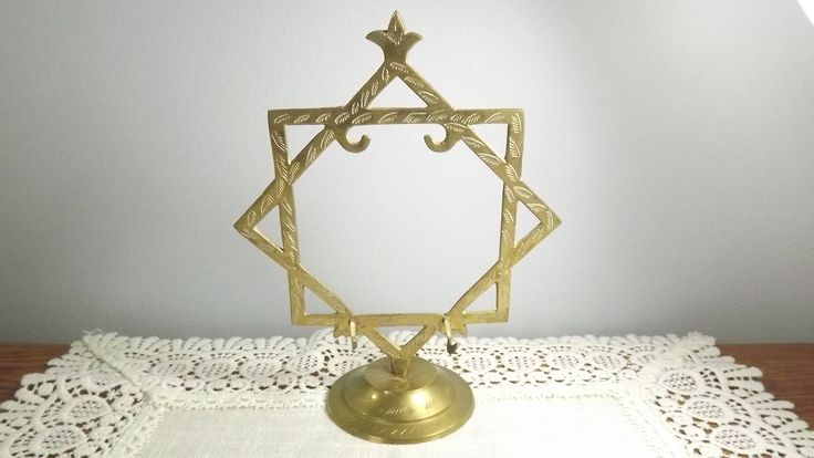 Vintage Brass Etched Star Stand, Jewelry Hanger, Candle Snuffer Holder, Jewelry Ring Tree, Hang Something on This! by OutrageousVintagious on Etsy