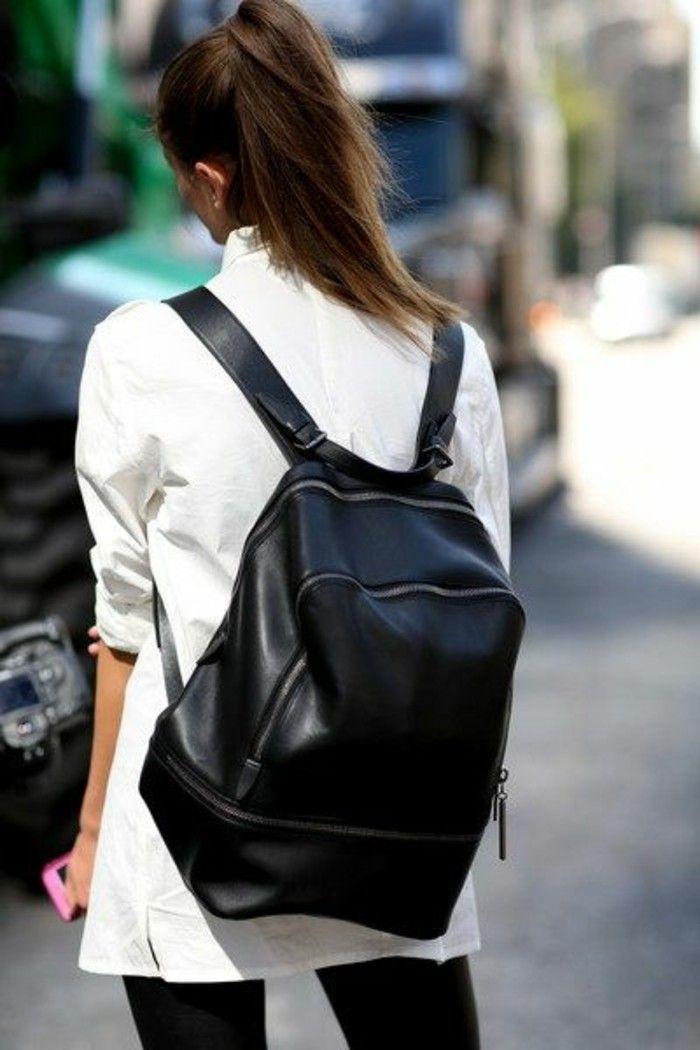 sac a dos tendance en cuir noir, sac a dos pas cher femme
