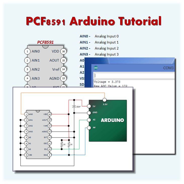 Pcf ad da converter arduino tutorial a simple