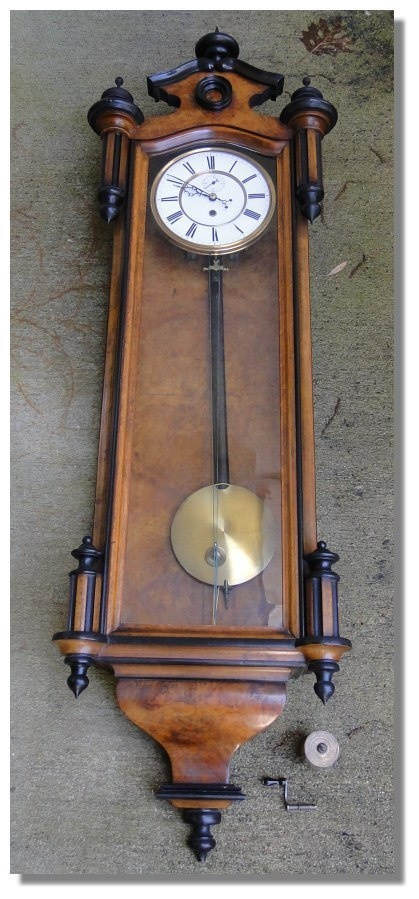 Smith Antique Wall Pendulum Clock burlwood porcelain face