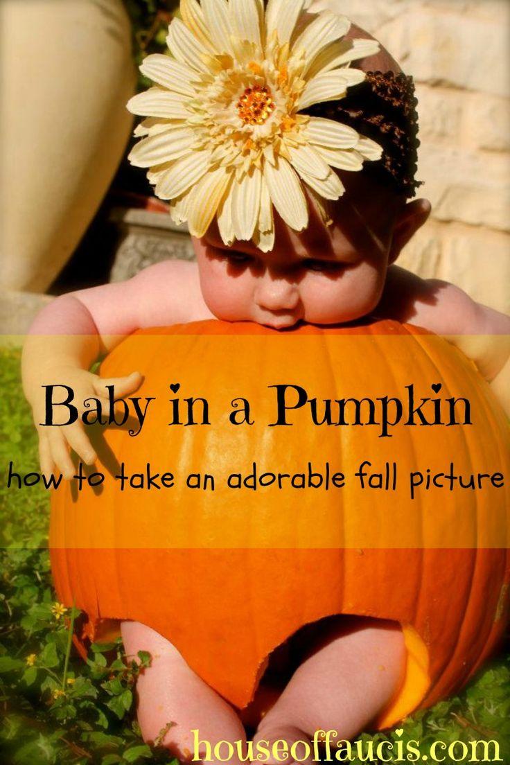 Tips for a cute, Halloween photo shoot from @houseoffaucis: Baby in a Pumpkin
