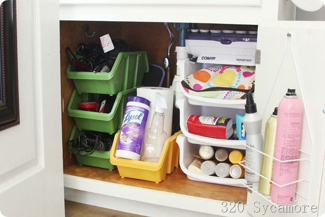 under the sink organization with Dollar Store bins and shower caddy (320 Sycamore)
