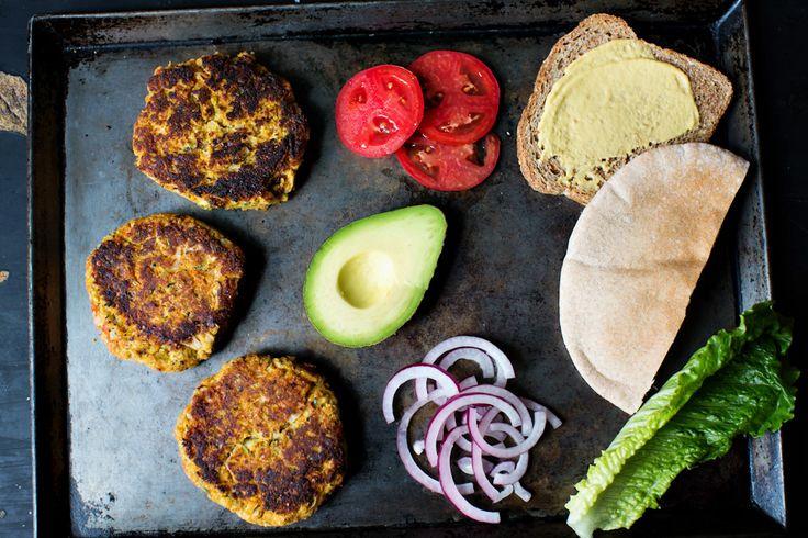 Tailgate with Zucchini Quinoa Burgers and freshly cut veggies