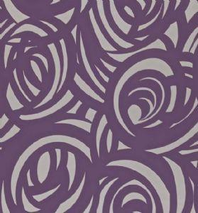 Harlequin  Vortex Wallpaper - Silver/Aubergine 110078
