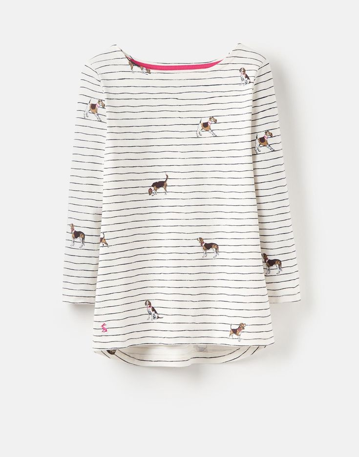 Harbour print Cream Stripe Dogs Jersey Top , Size 8 | Joules UK