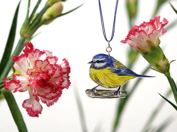 Vogel Kette - BLAUMEISE #02 - Unikat - Frühlingsbote - Halskette - Vogelschmuck