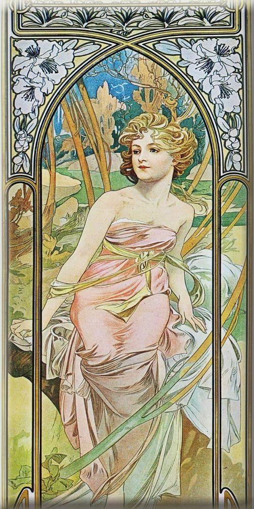 Art nouveau ceramic tile 3X6 Inche Alphonse Mucha Painting 1
