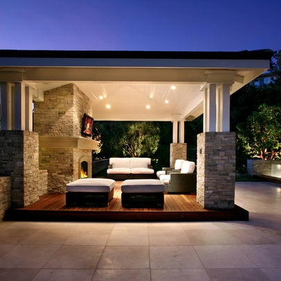 Wood deck and stone patio combination outdoor spaces for Contemporary outdoor living spaces