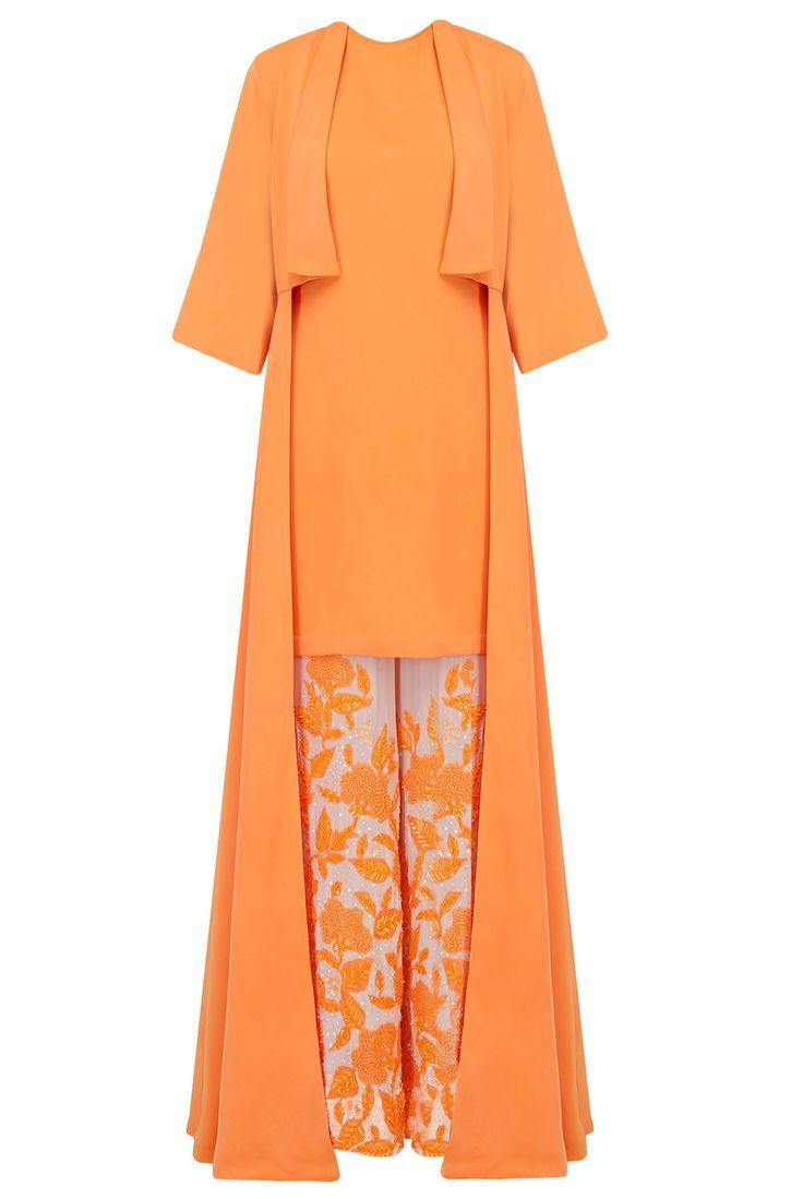 Tangerine orange tuniv, jacket and embroidered sharara pants set available only at Pernia's Pop Up Shop.