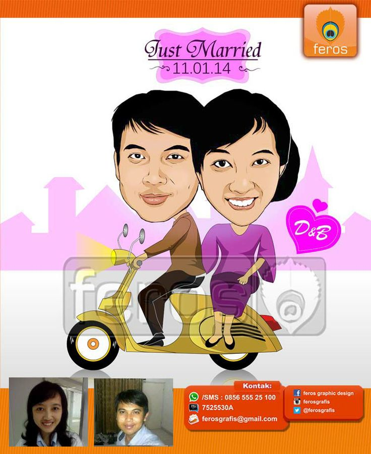 #caricature #caricatures #toon #drawing #vector #paint #digital #karikatur #family #potrait #vespa #bikers #prewedding #wedding #couple #love #marriage #sweet #lover