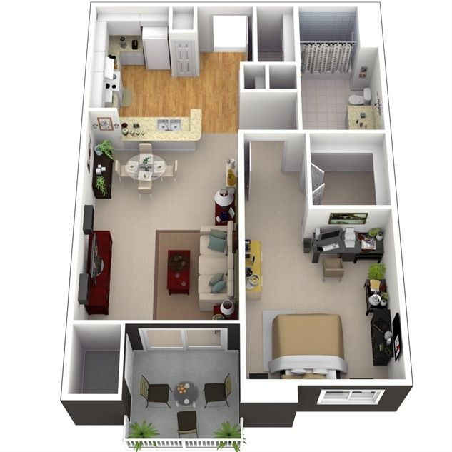 3d small house plans under 1000 sq ft with loft and one for Small one room apartment ideas