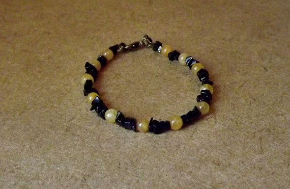 Apollo God Bracelet with Onyx and Topaz by Mythfolk on Etsy, $15.50