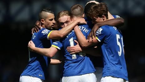 Everton's players celebrate scoring against Norwich City