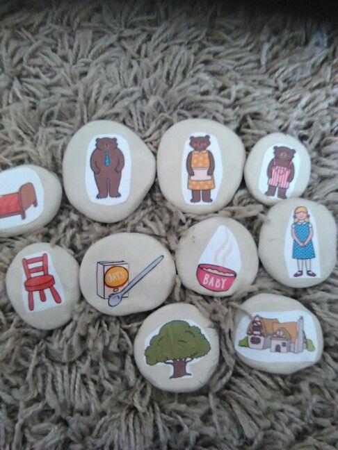 Goldilocks and the three bears story stones.