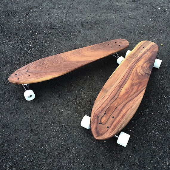 All of our longboards are made from locally salvaged walnut. The grain is gorgeous and the boards ride smoothly. Our skateboards are built with