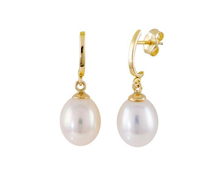 Glow Gouden oorbellen met parel 8 mm 206.5054.00  Mooie 14 karaats Geelgouden oorknoppen. Deze tijdloze en kwalitatief hoogwaardige Oorstekers gaan een leven lang mee en zijn vervaardigd uit een zeer hoge kwaliteit geelgoud. De glanzende afwerking geeft de oorknopjes een luxe effect. De oorknoppen zijn gemaakt in een in de vorm van een gladde halve creool met een hangende parel.