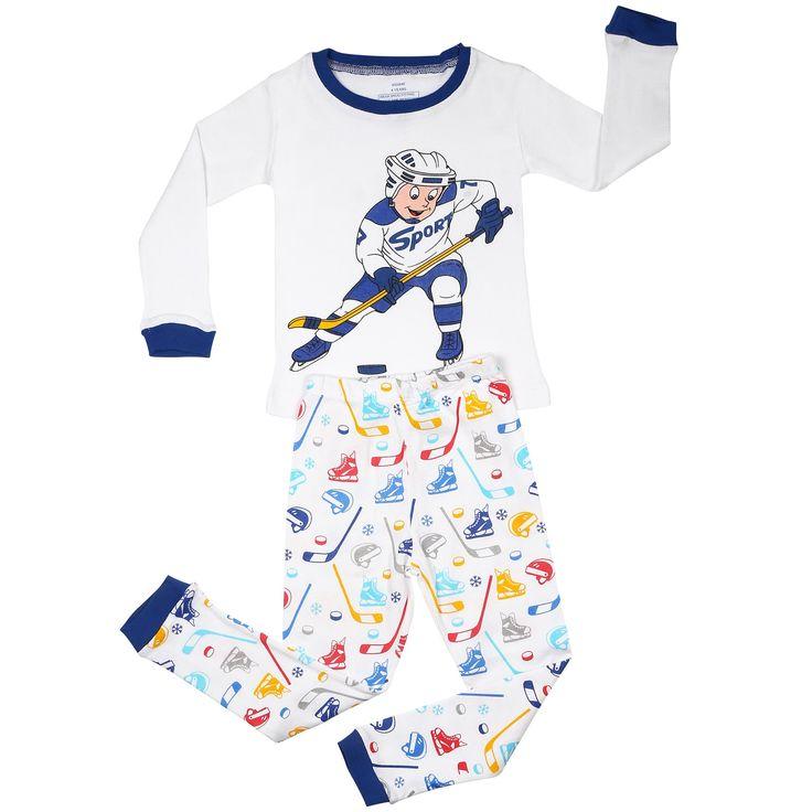 Elowel Boys 'Hockey Player' Multicolored 2-piece Pajama Set