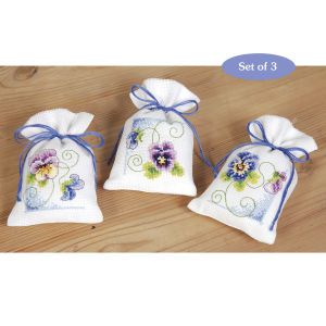 Violets Sachet Set - Cross Stitch, Needlepoint, Embroidery Kits – Tools and Supplies