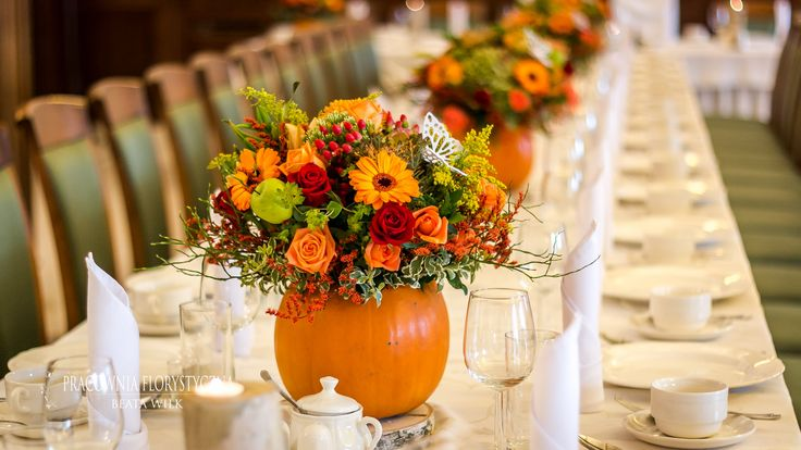dekoracja sali weselnej dynie jesień jesienna