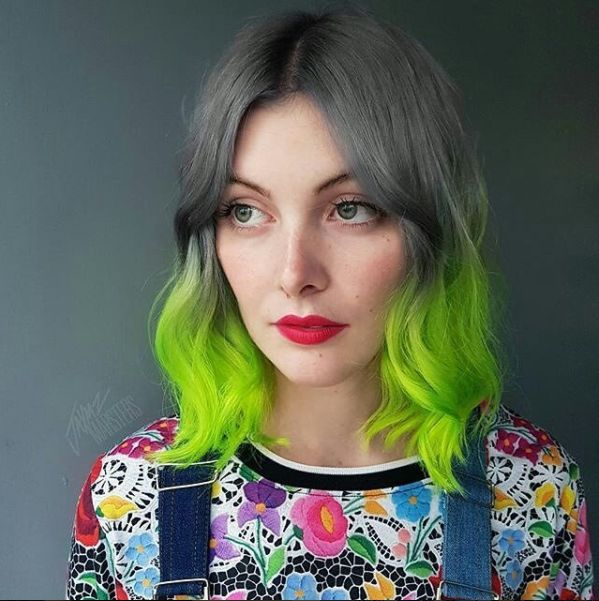 Not just any ombre... Silver to Electric Lizard! #manicpanic #electriclizard