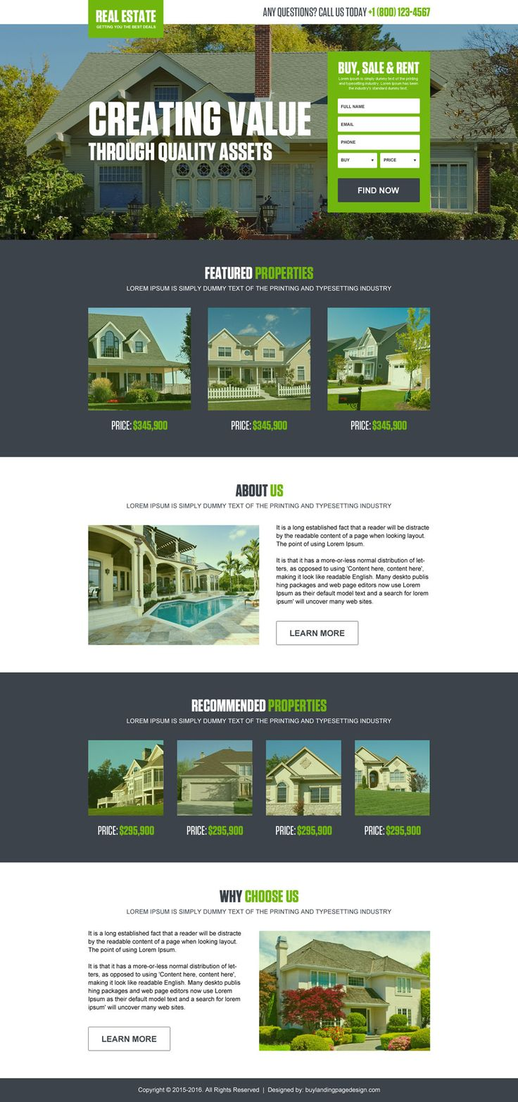 converting real estate listing landing page design template