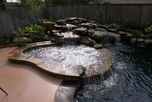 Mediterranean Hot Tub with Fence, Water feature, Pool waterfall feature, Pool with hot tub, Concrete floors