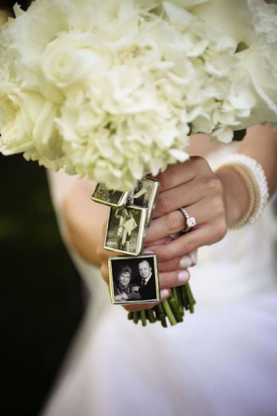 Wedding Bridal Bouquet Charm Kits Square -for Family photos and Initials (Includes everything you need). $10.95, via Etsy.