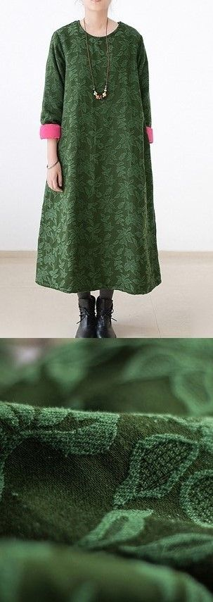 2017 winter green jacquard cotton thick warm maxi dress