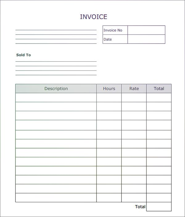 Fillable Invoice Blank In PDF